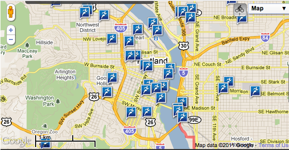 Map My Run View of Portland