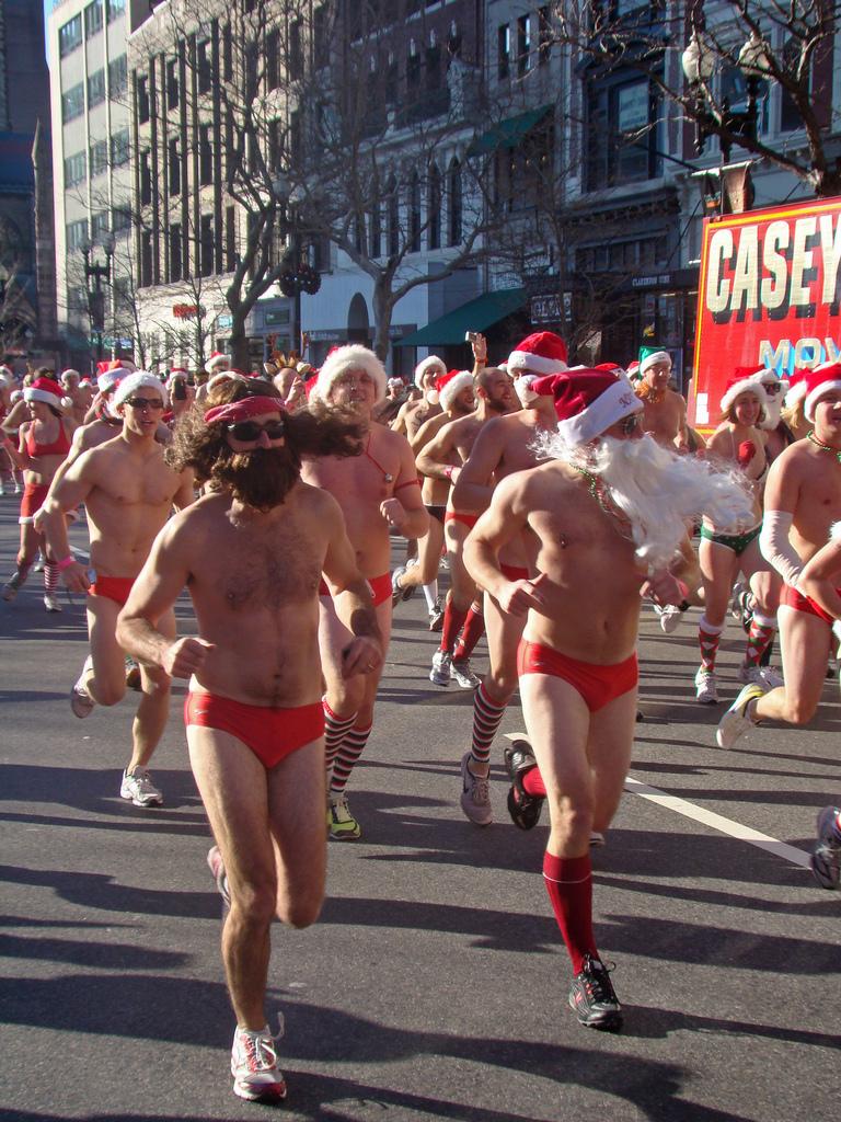 santa running beards